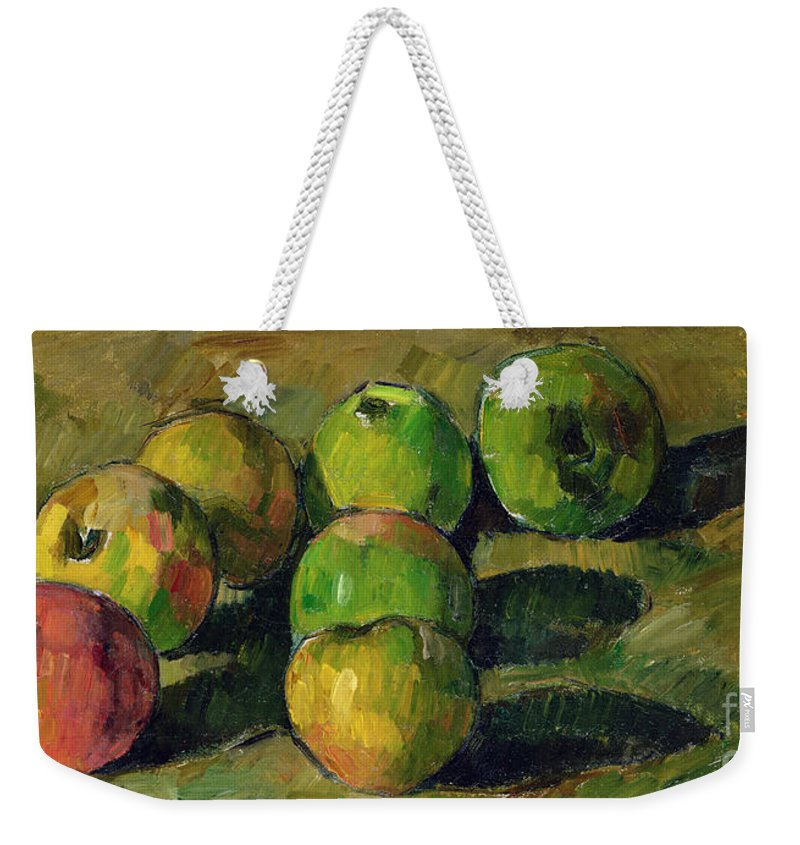 Still Weekender Tote Bag featuring the painting Still Life With Apples by Paul Cezanne