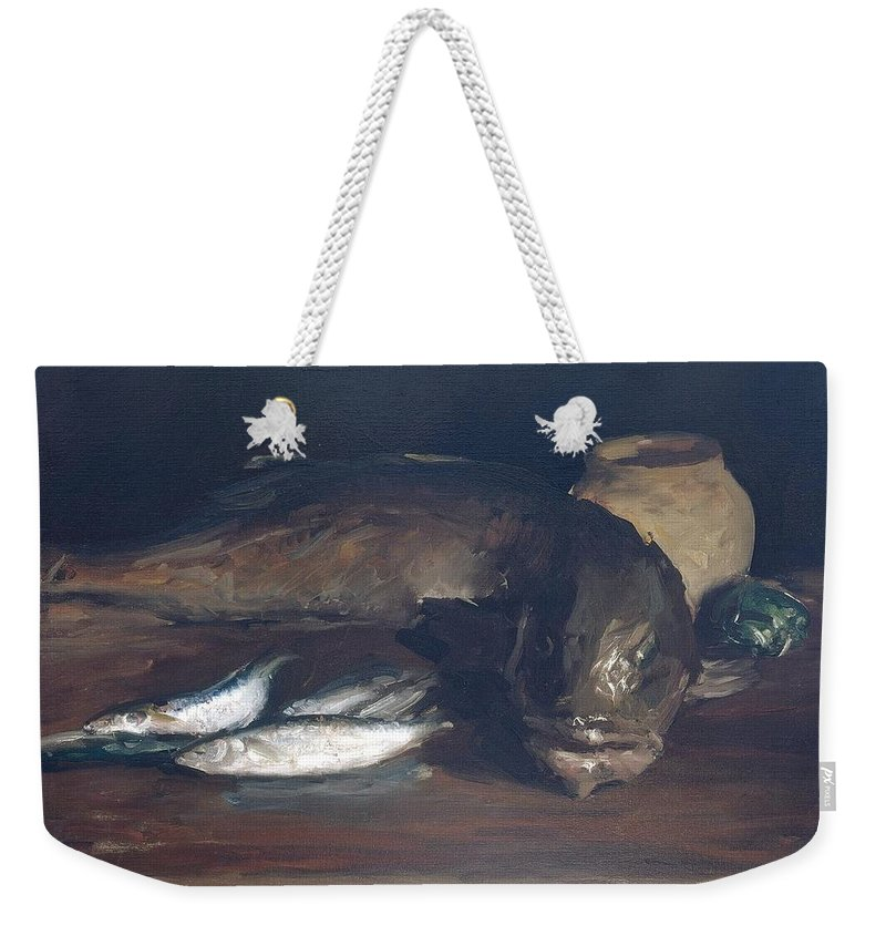 Still Life Weekender Tote Bag featuring the painting Still Life,cod And Mackerel by William Merritt