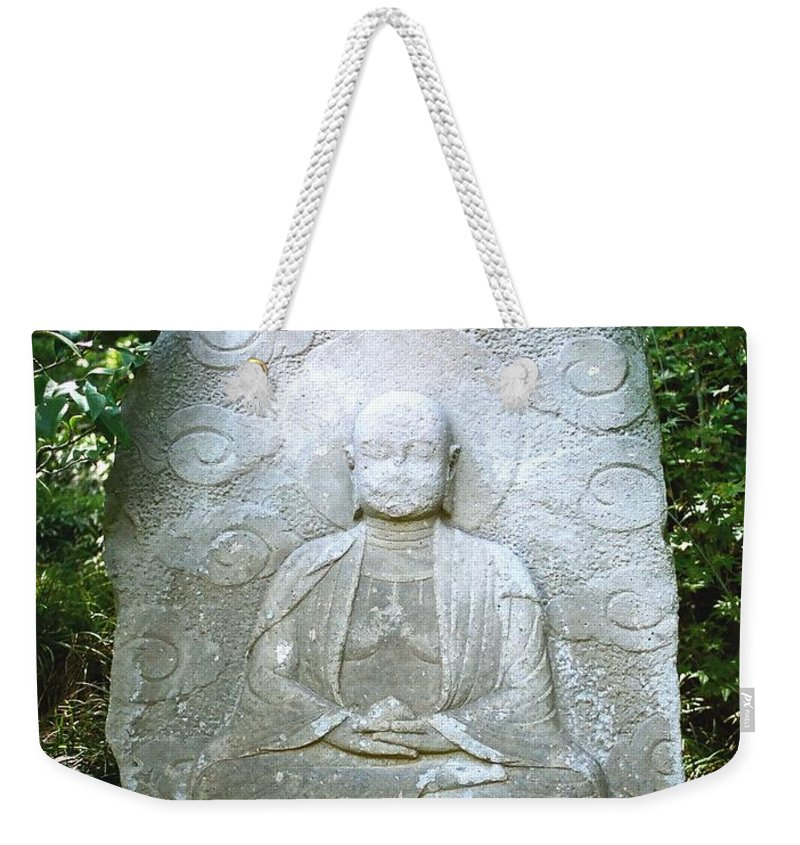 Stone Weekender Tote Bag featuring the photograph Stone Buddha by Dean Triolo