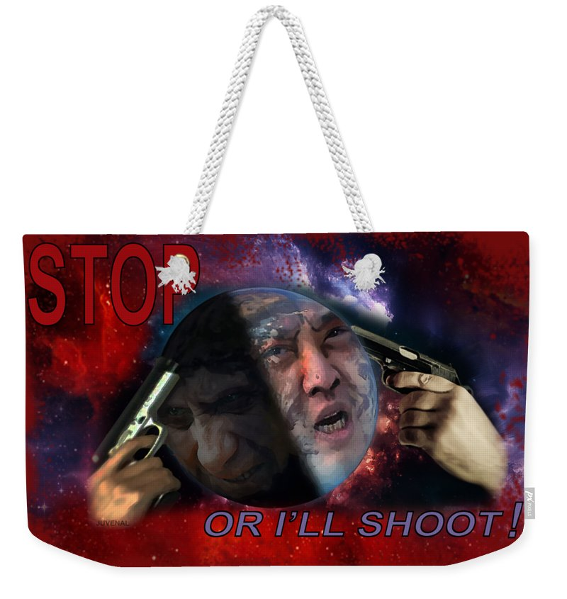 Canvas Prints Weekender Tote Bag featuring the digital art Stop Or I'll Shoot by Joseph Juvenal