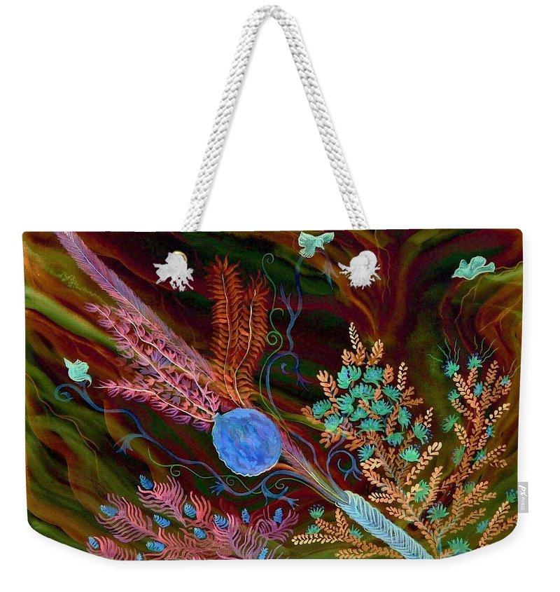 Lulav Weekender Tote Bag featuring the digital art Sukkot-the Lulav by Sandrine Kespi