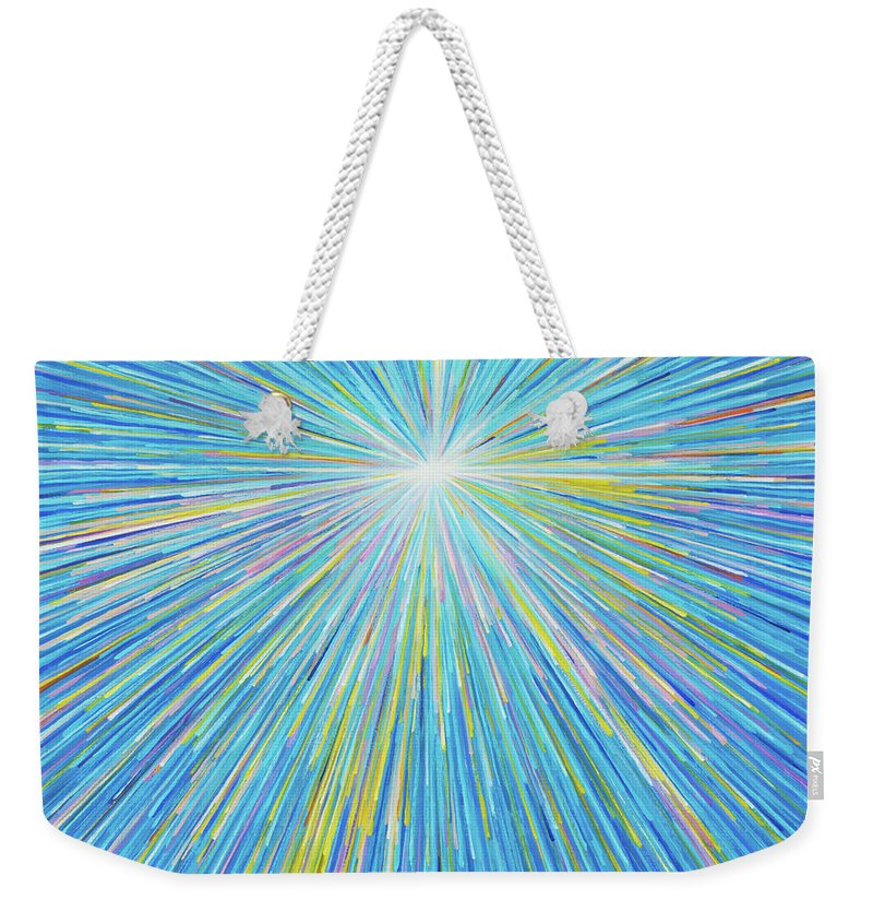 Abstract Weekender Tote Bag featuring the painting SUN 5 by Atiketta Sangasaeng