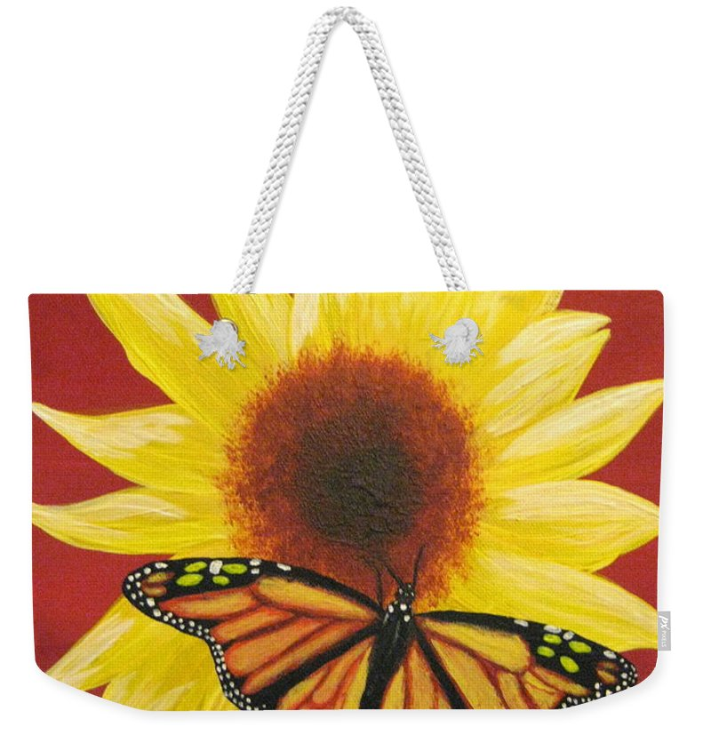 Sunflower Weekender Tote Bag featuring the painting Sunflower Monarch by Debbie Levene