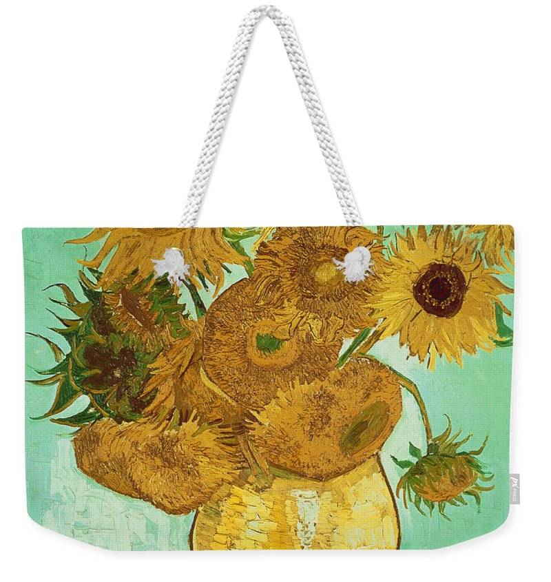 Sunflowers Weekender Tote Bag featuring the painting Sunflowers by Van Gogh by Vincent Van Gogh