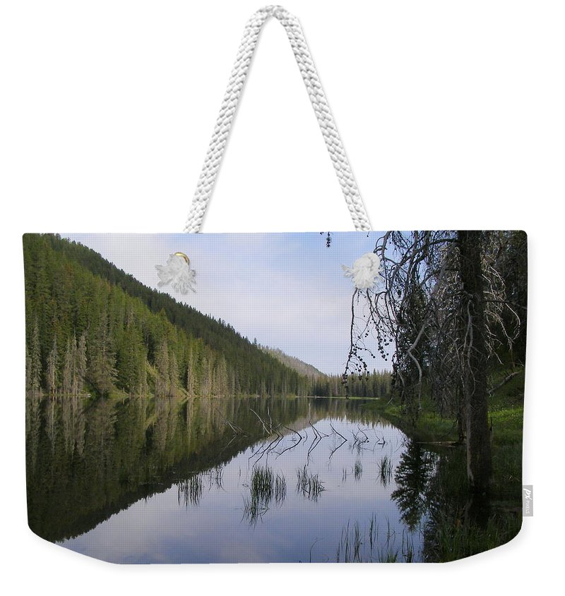 Lake Weekender Tote Bag featuring the photograph Sunrise At Bailey's by DeeLon Merritt