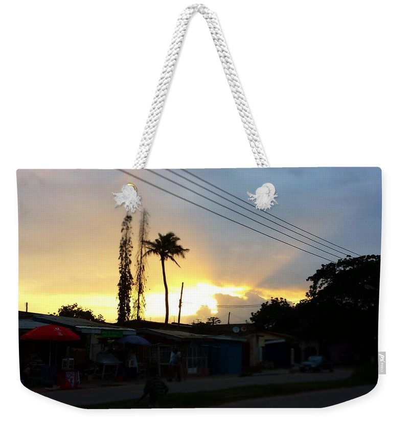 Landscape Weekender Tote Bag featuring the photograph Sunset by Alfred Aikins