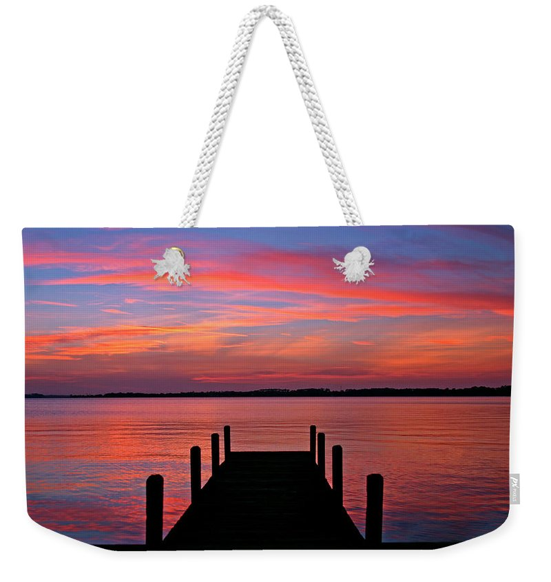 Dock Weekender Tote Bag featuring the photograph Sunset Dock by Scott Mahon