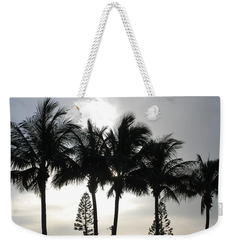 Sky Weekender Tote Bag featuring the photograph Sunset Thru The Trees by Rob Hans