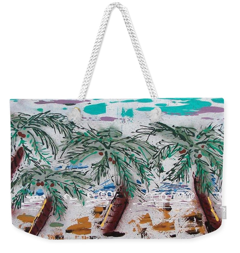 Palm Trees Weekender Tote Bag featuring the painting Surf N Palms by J R Seymour