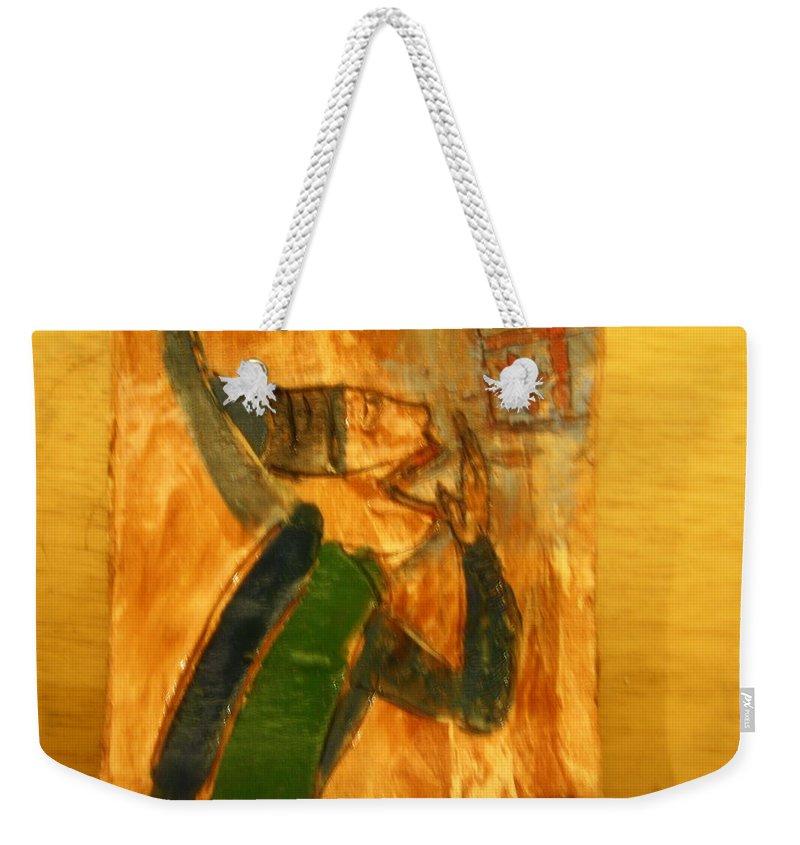 Jesus Weekender Tote Bag featuring the ceramic art Surprise - Tile by Gloria Ssali