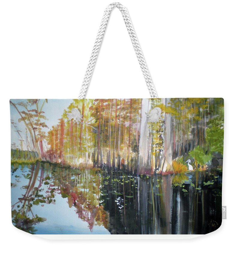Landscape Of A South Florida Swamp At Dusk Feels Very Wild Weekender Tote Bag featuring the painting Swamp Reflection by Hal Newhouser
