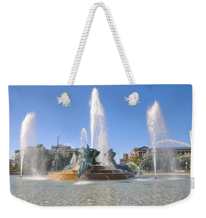 Swann Weekender Tote Bag featuring the photograph Swann Fountain - Center City Philadelphia by Bill Cannon
