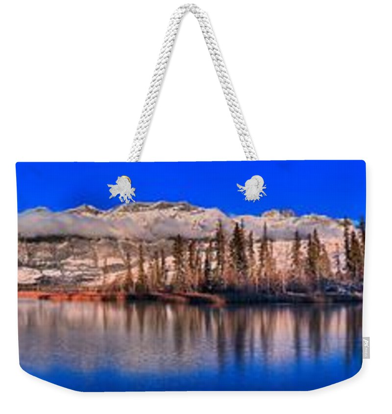 Talbot Lake Weekender Tote Bag featuring the photograph Talbot Lake Afternoon Panorama by Adam Jewell