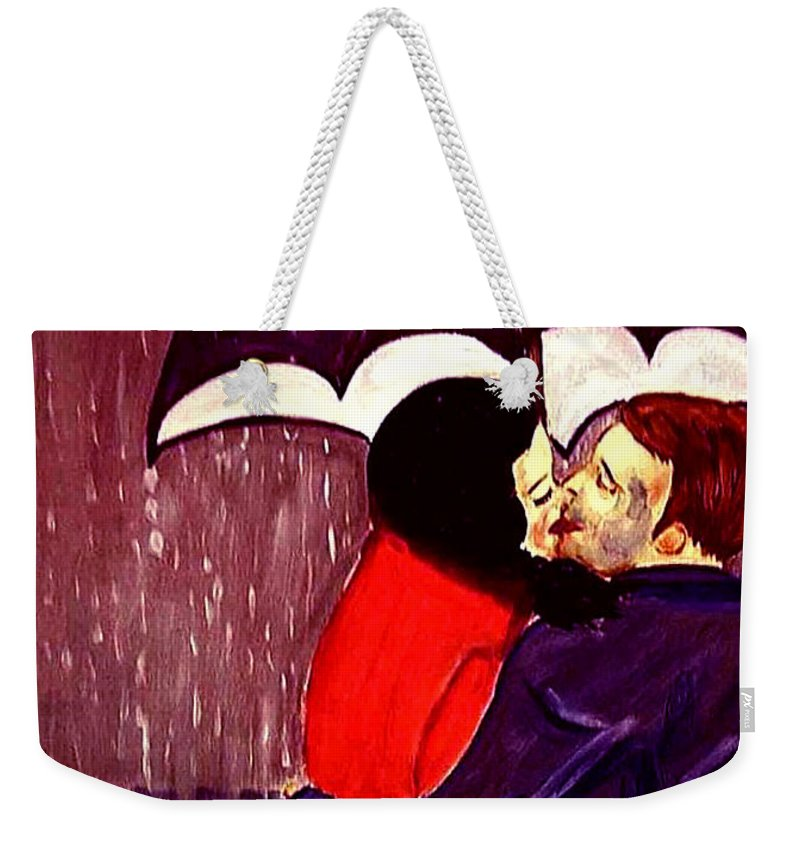 Lovers Weekender Tote Bag featuring the painting Talking In Tongues by Rusty Gladdish
