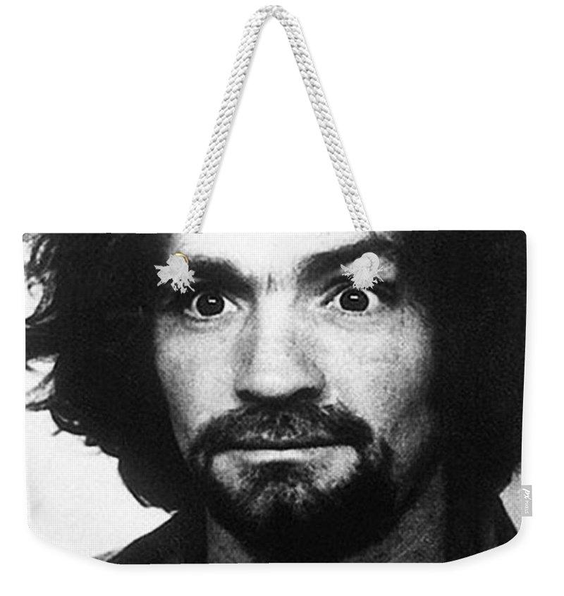 Charles Manson Weekender Tote Bag featuring the photograph Charles Manson Mug Shot 1969 Vertical by Tony Rubino