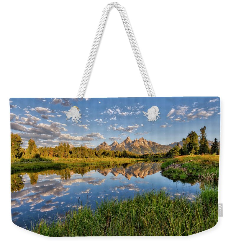 Grand Teton Weekender Tote Bag featuring the photograph Teton Sunrise by Stacy White