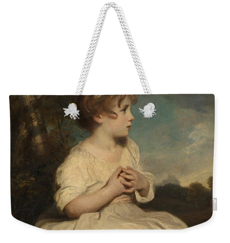 Sir Joshua Reynolds 1723–1792  The Age Of Innocence Weekender Tote Bag featuring the painting The Age Of Innocence by Sir Joshua Reynolds