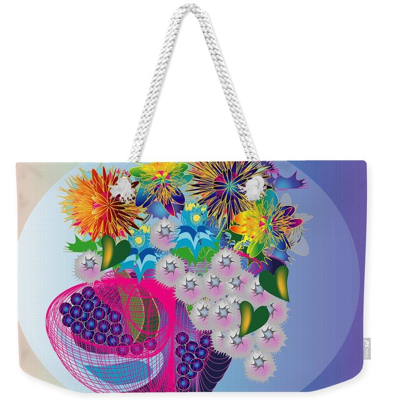 Flowers Weekender Tote Bag featuring the digital art The Arrangement by George Pasini