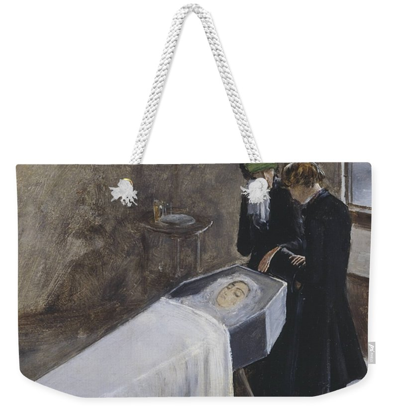 Sir John Everett Millais Weekender Tote Bag featuring the painting The Artist Attending The Mourning Of A Young Girl by John Everett Millais