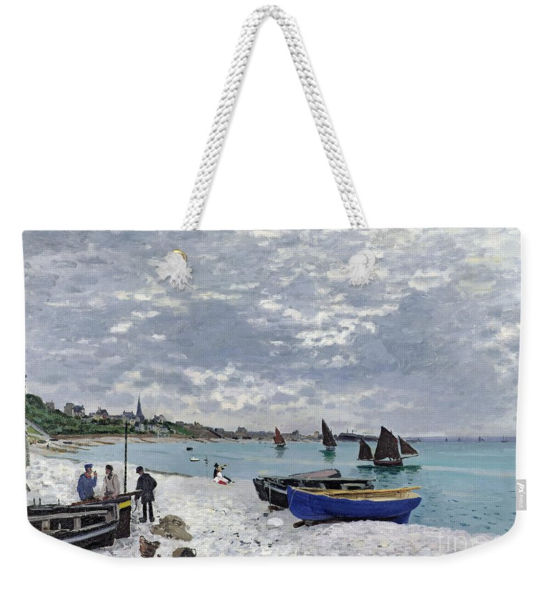 Coastal;french;rowing Boat;sailing;sainte Adresse; Boats Weekender Tote Bag featuring the painting The Beach At Sainte Adresse 1 by Claude Monet