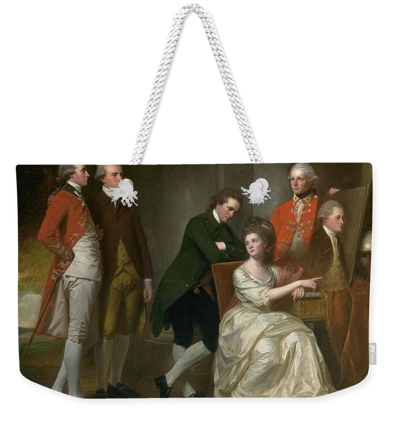 George Romney 1734�1802  The Beaumont Family Weekender Tote Bag featuring the painting The Beaumont Family by George Romney