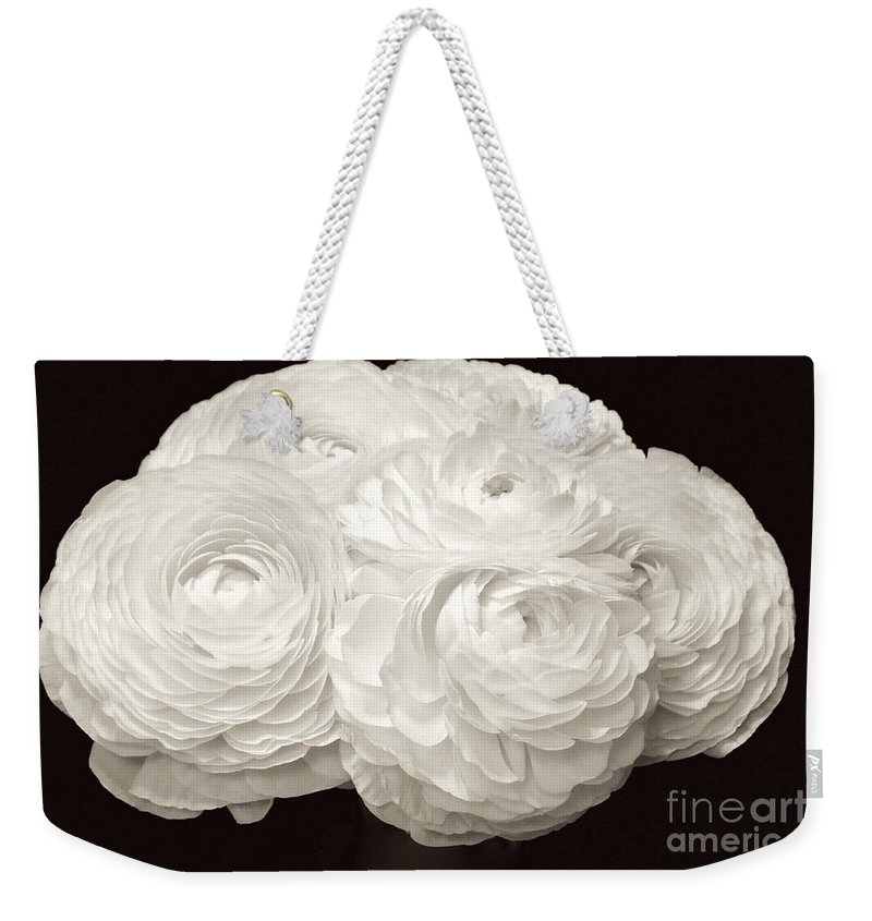 Anniversaries Weekender Tote Bag featuring the photograph White Ranunculus Bouquet by Jeannie Rhode