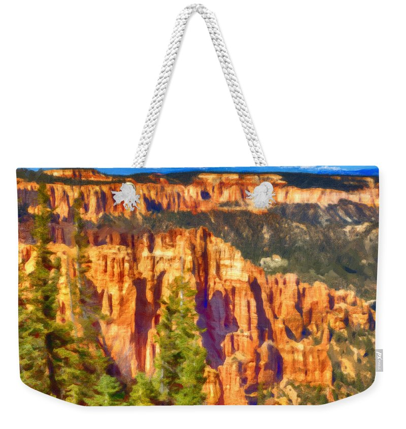 The Canyon Weekender Tote Bag featuring the painting The Canyon by David Millenheft