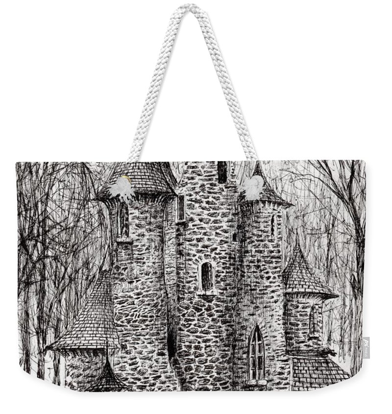 Black And White Weekender Tote Bag featuring the drawing The Castle In The Forest Of Findhorn by Vincent Alexander Booth