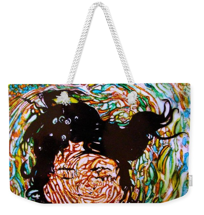 Weekender Tote Bag featuring the mixed media The Drowning Artist by Sarah G ART