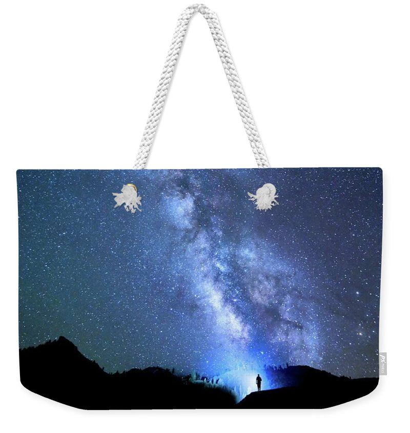 Milky Way Weekender Tote Bag featuring the photograph The Explorer by Barbara Matthews