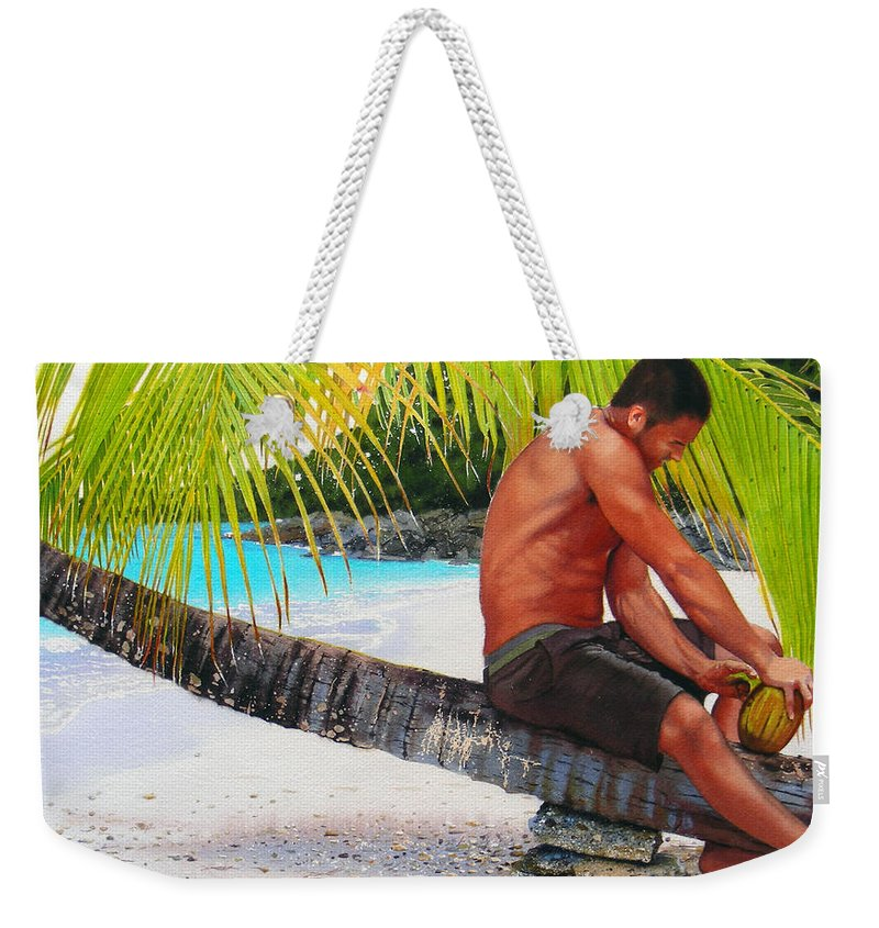 Male Figure Weekender Tote Bag featuring the painting The Gatherer by Denny Bond