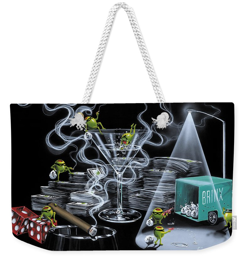 Olives Weekender Tote Bag featuring the painting The Heist by Michael Godard