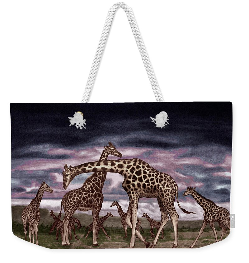 The Herd Weekender Tote Bag featuring the drawing The Herd by Peter Piatt