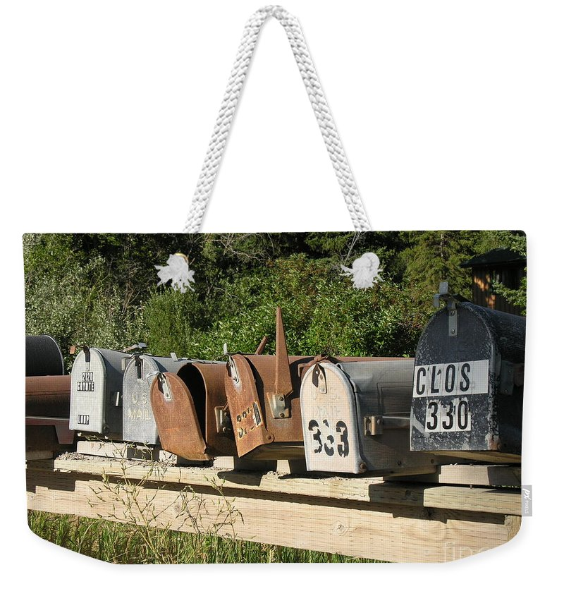 Mail Boxes Weekender Tote Bag featuring the photograph The Long Wait by Diane Greco-Lesser