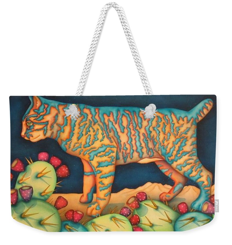 Cat Weekender Tote Bag featuring the painting The Moon The Mountains Cacti A Cat by Jeniffer Stapher-Thomas
