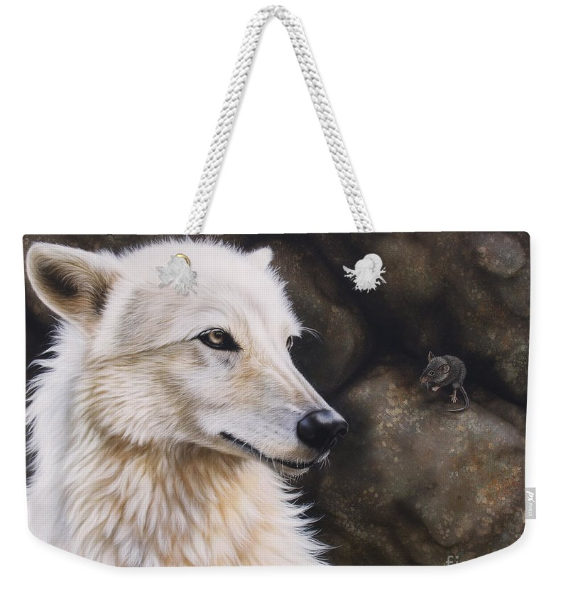 Acrylic Weekender Tote Bag featuring the painting The Mouse by Sandi Baker