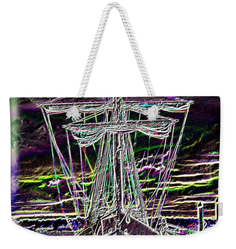 Wooden Boat Weekender Tote Bag featuring the digital art The Nina by Tim Allen