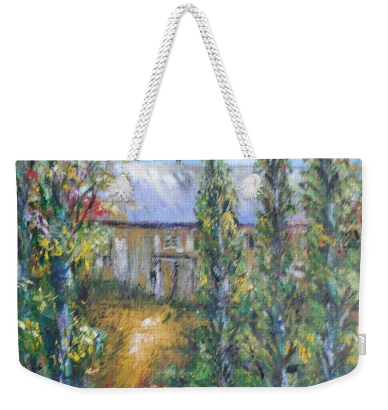 Landscape Weekender Tote Bag featuring the painting The Old Barn by Eydie Paterson