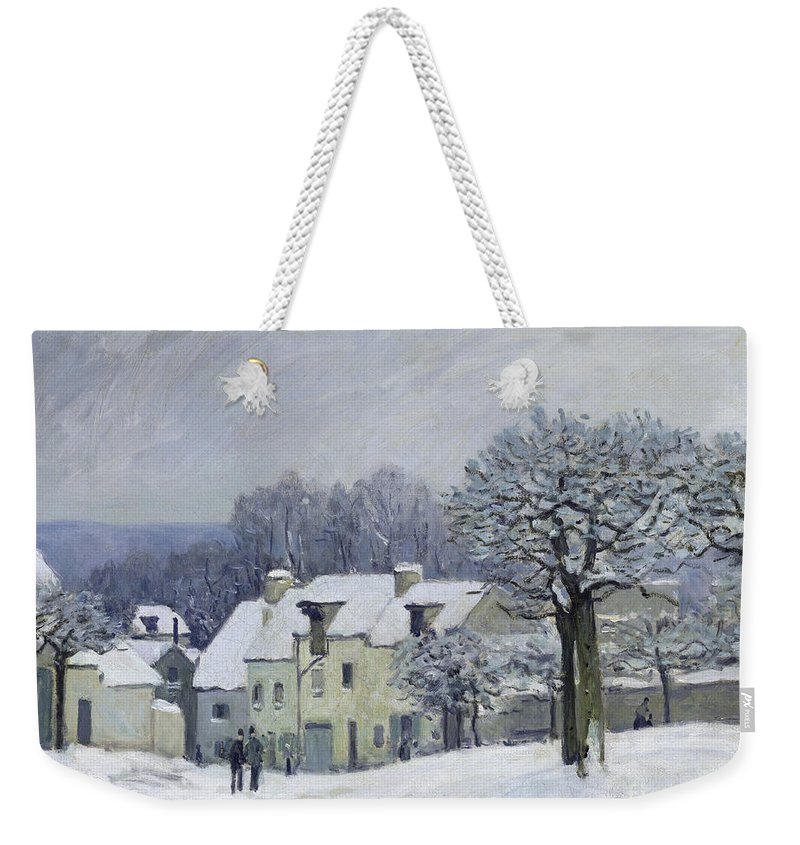 The Place Du Chenil At Marly-le-roi Weekender Tote Bag featuring the painting The Place Du Chenil At Marly Le Roi by Alfred Sisley