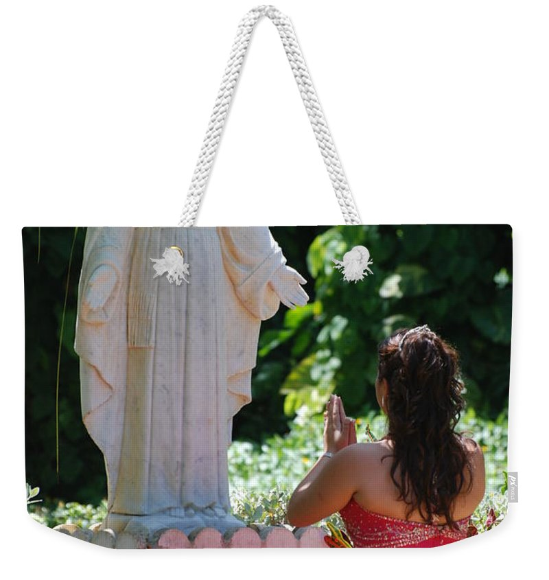 Portrait Weekender Tote Bag featuring the photograph The Praying Princess by Rob Hans