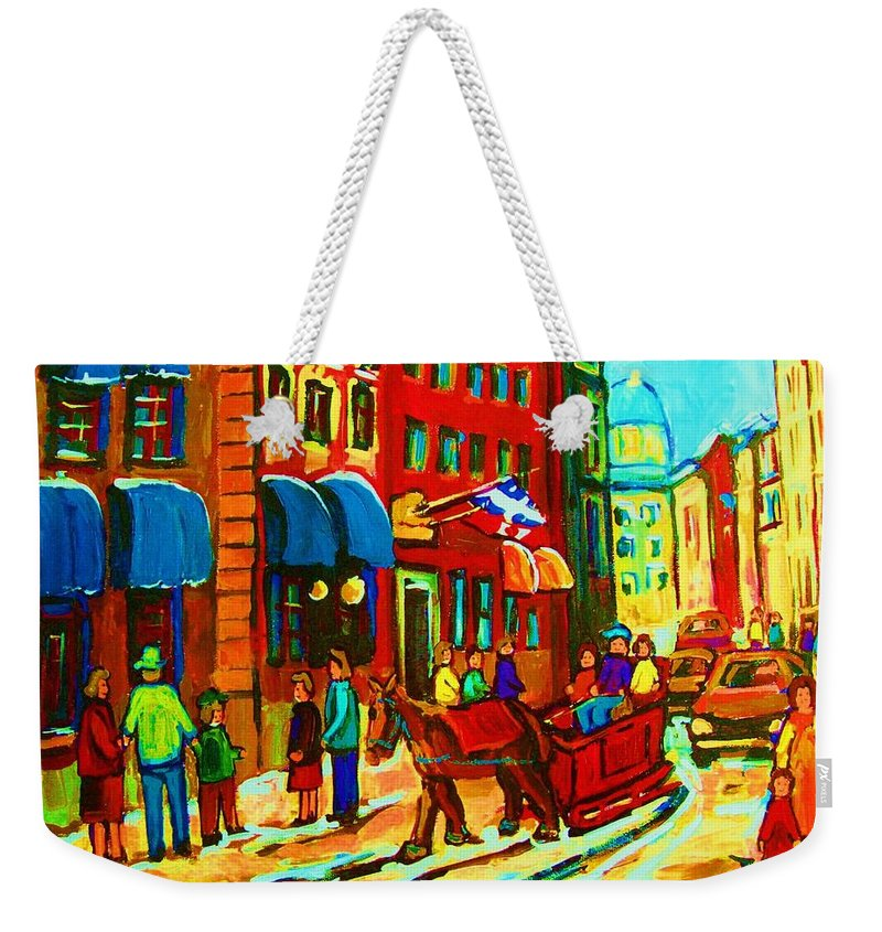 Montreal Weekender Tote Bag featuring the painting The Red Sled by Carole Spandau