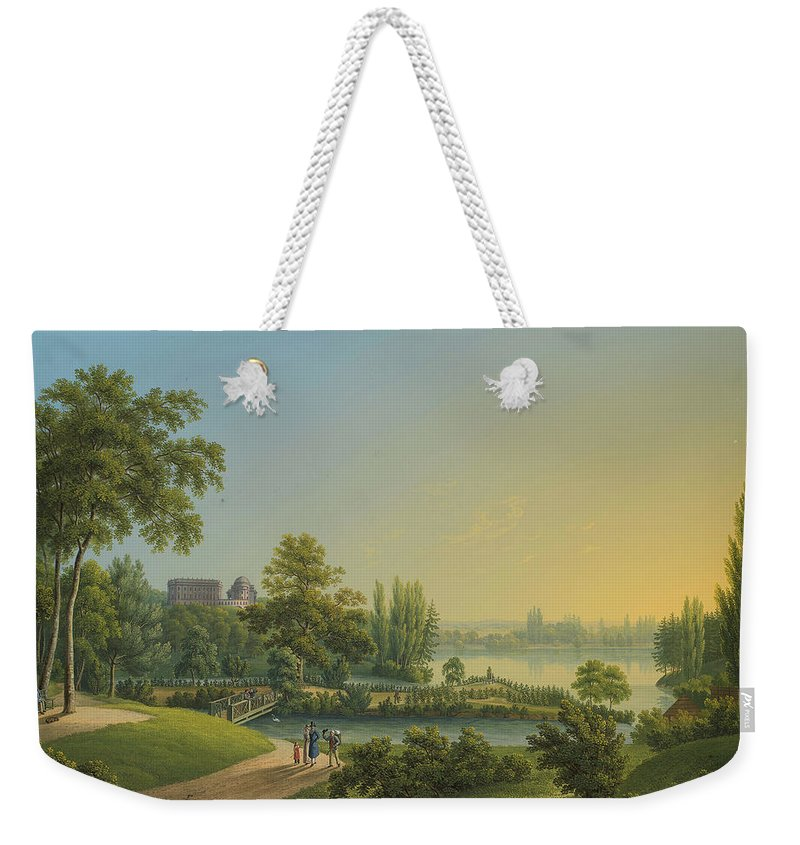 Johann Heinrich Bleuler (1758-1823) The Rose Island Weekender Tote Bag featuring the painting The Rose Island by Johann Heinrich