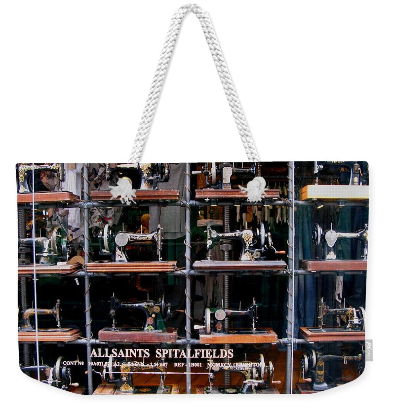 Sewing Machine Weekender Tote Bag featuring the photograph The Sewing Machine by Maria Joy