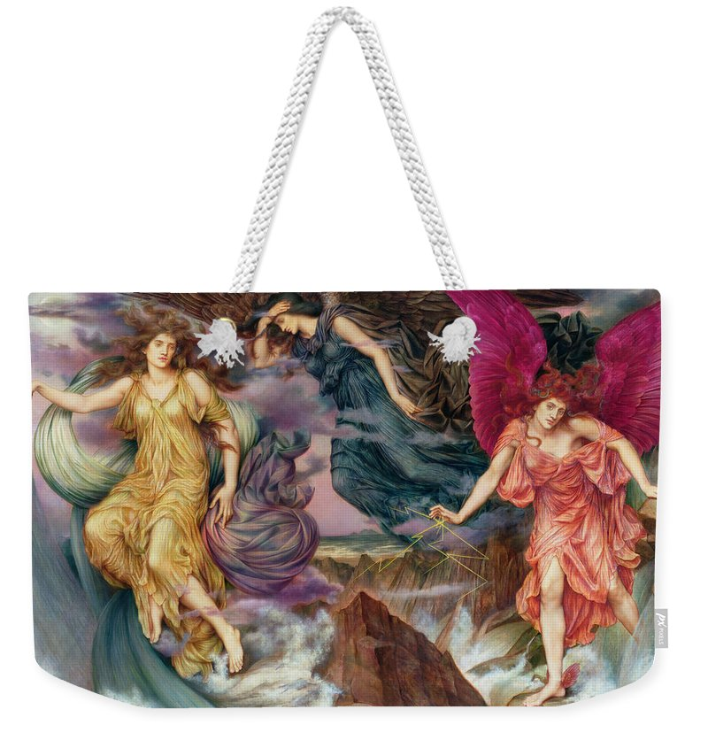 Evelyn Weekender Tote Bag featuring the painting The Storm Spirits by Evelyn De Morgan