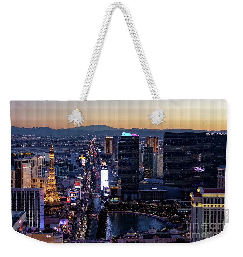 Las Vegas Weekender Tote Bag featuring the photograph the Strip at night, Las Vegas by Sv