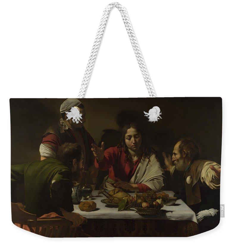 Caravaggio Weekender Tote Bag featuring the painting The Supper At Emmaus by Caravaggio