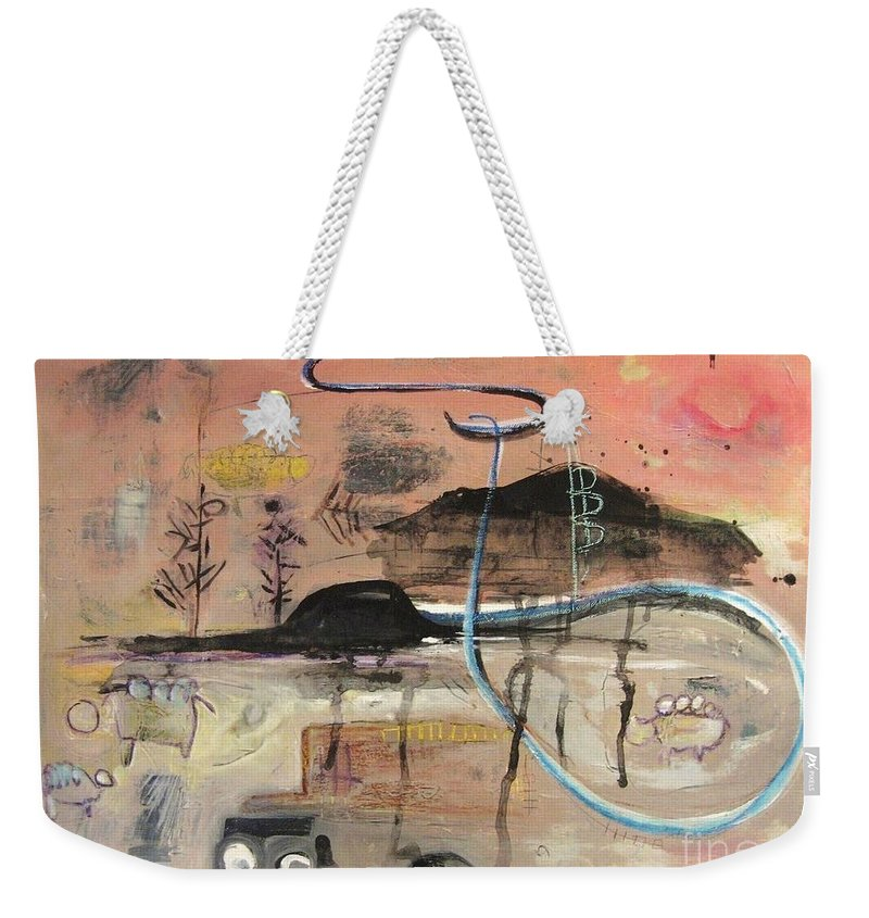 Acrylic Paper Canvas Abstract Contemporary Landscape Dusk Twilight Countryside Weekender Tote Bag featuring the painting The Tempo Of A Day by Seon-Jeong Kim