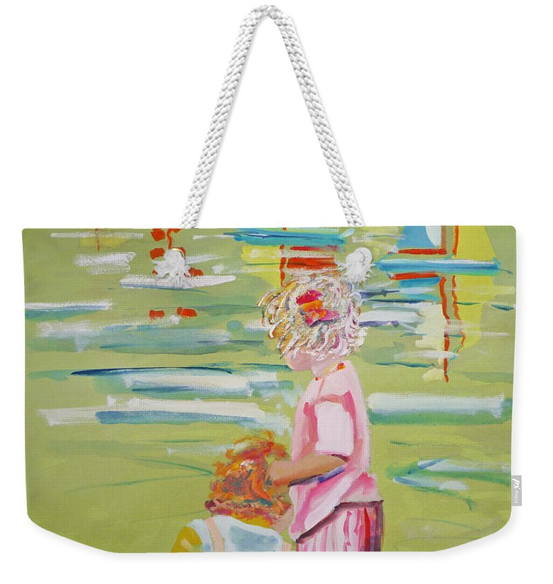 Yachts Weekender Tote Bag featuring the mixed media The Toy Regatta by Charles Stuart