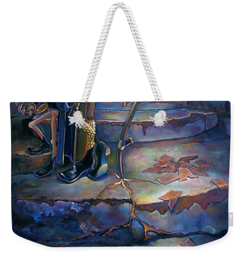 Mermaid Weekender Tote Bag featuring the painting The Wheel Of Tempus Q. Fugit by Patrick Anthony Pierson