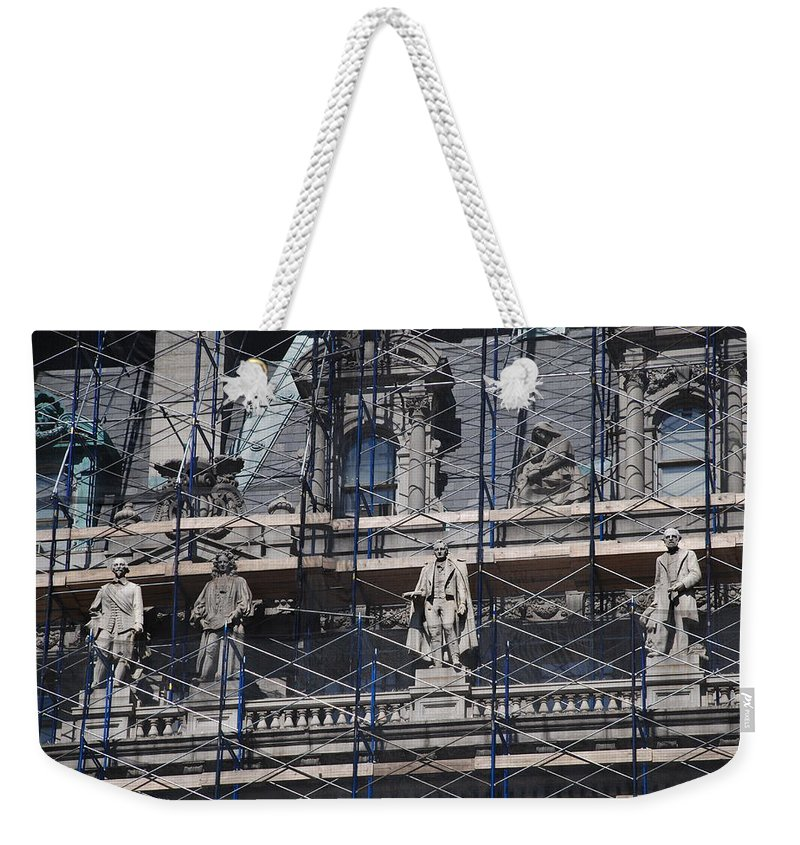 Street Scene Weekender Tote Bag featuring the photograph The Wiseguys by Rob Hans